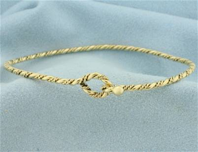 Rope Design Bangle Bracelet in 14K Yellow Gold