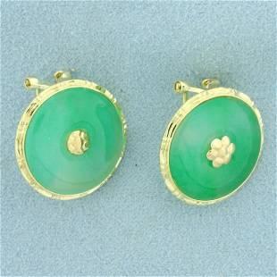 Jade Clip On Earrings in 14K Yellow Gold