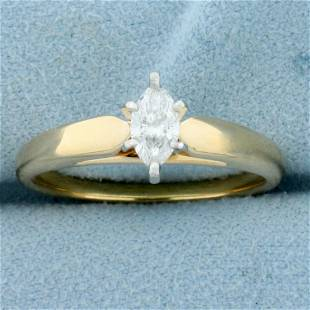 Solitaire Marquise Diamond Engagement Ring in 14K