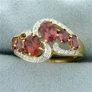 Over 3ct TW Morganite and Diamond Ring in 10K Yellow