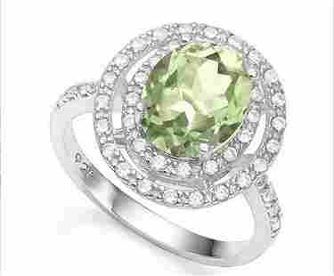 Huge Double Halo Green Amethyst and White Sapphire