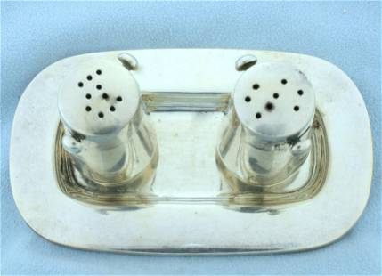 Vintage Salt and Pepper Shaker Set with Tray in