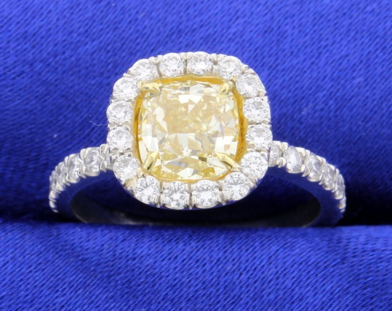 Certified Fancy Intense Yellow 2.71 ct TW Halo style