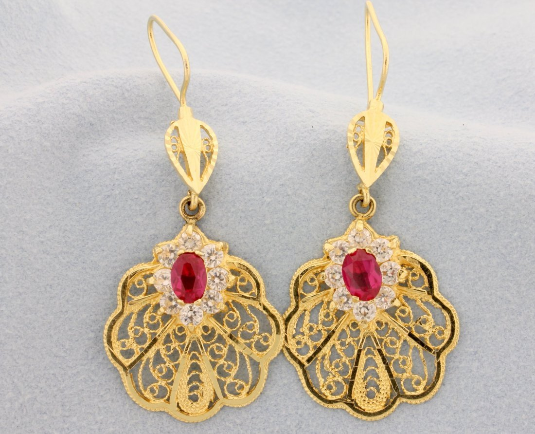 14k yellow gold earrings with sapphires & lab Rubies