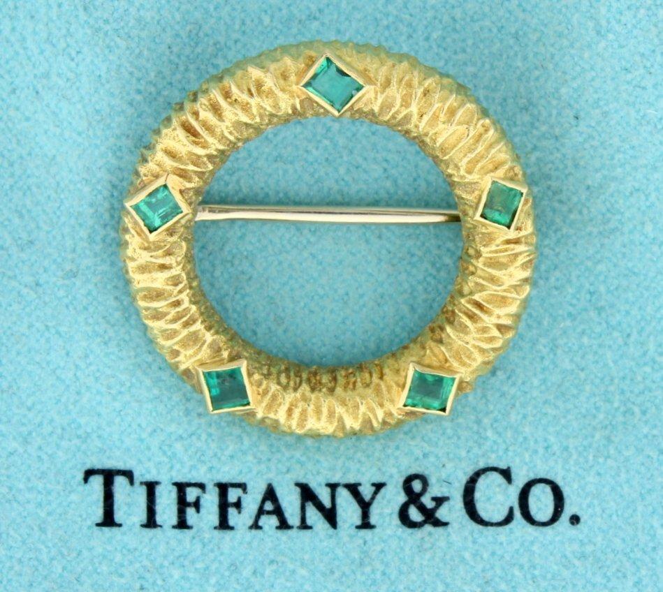Tiffany & Co 18K Emerald Circle Pin