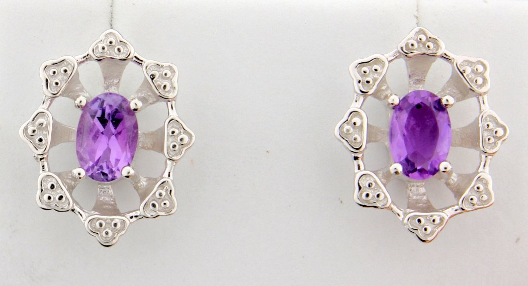 Vintage style Amethyst earrings