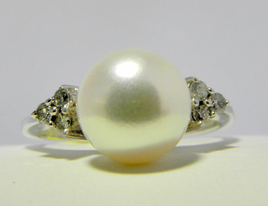 Classic 8.5MM Genuine Pearl & Diamond Ring in 14K White