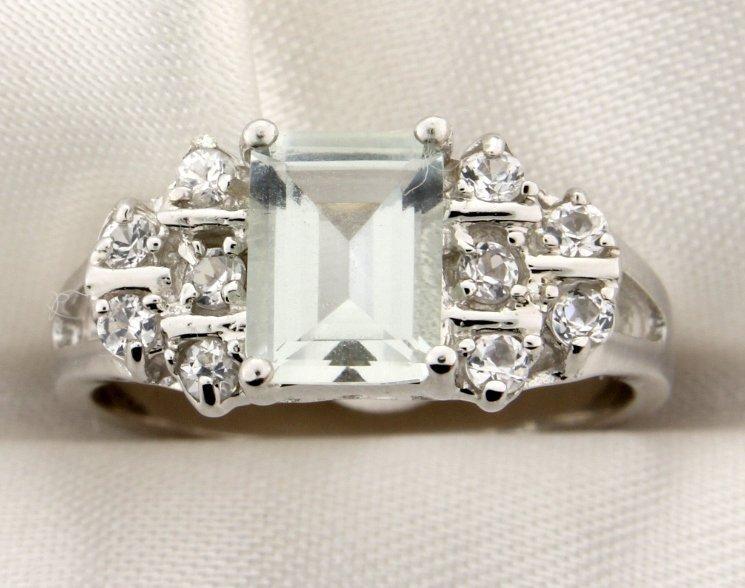Green Amethyst ring set in sterling silver