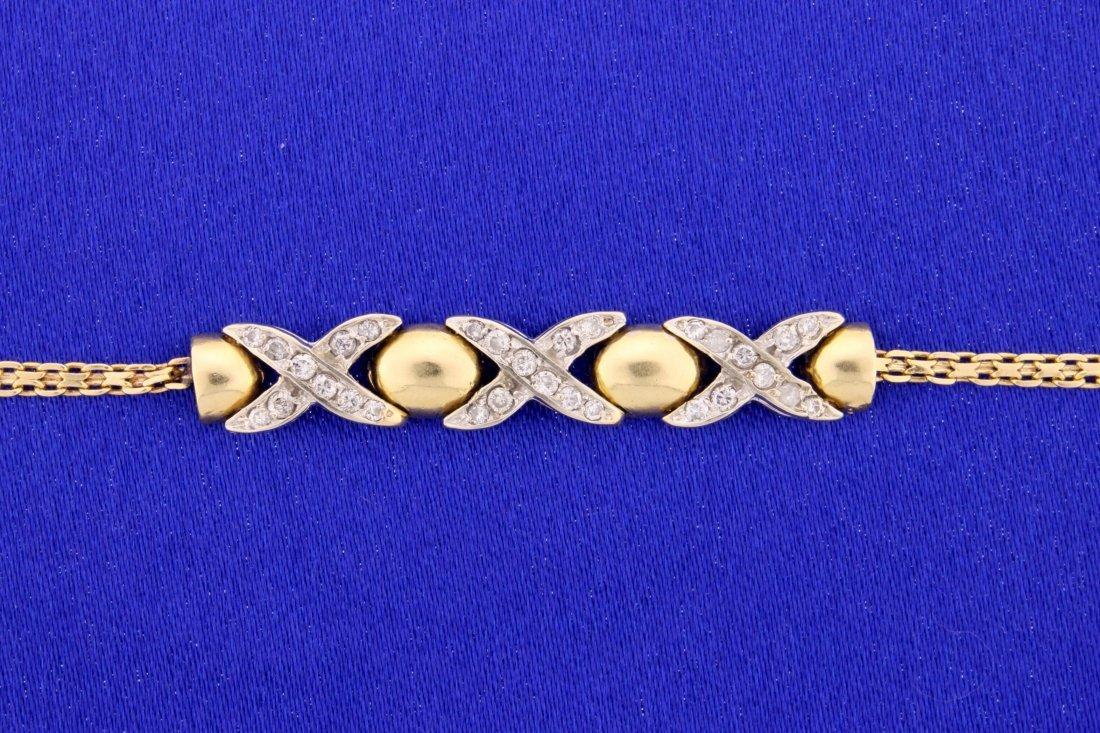 14k yellow gold triple kiss style diamond bracelet