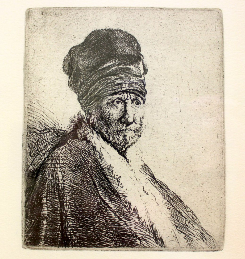 """""""Bust of a Man Wearing a High Cap"""" by Rembrandt"""