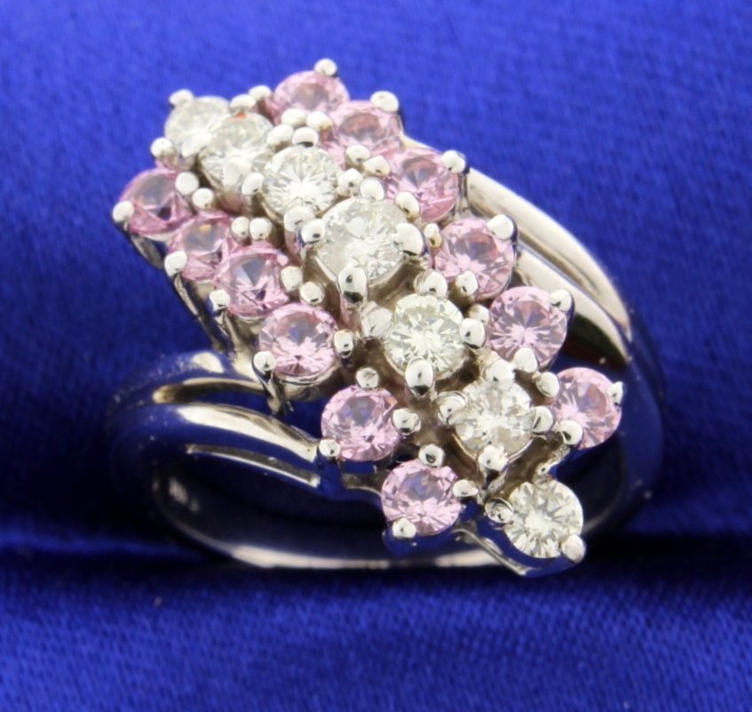 Diamond and Pink Topaz ring
