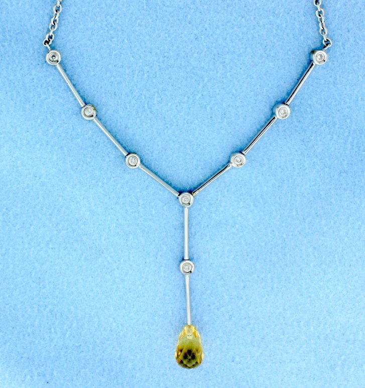 18k white necklace with Citrine and Diamonds