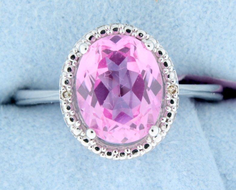 Classic 2.40CT Pink Topaz & Diamond Ring