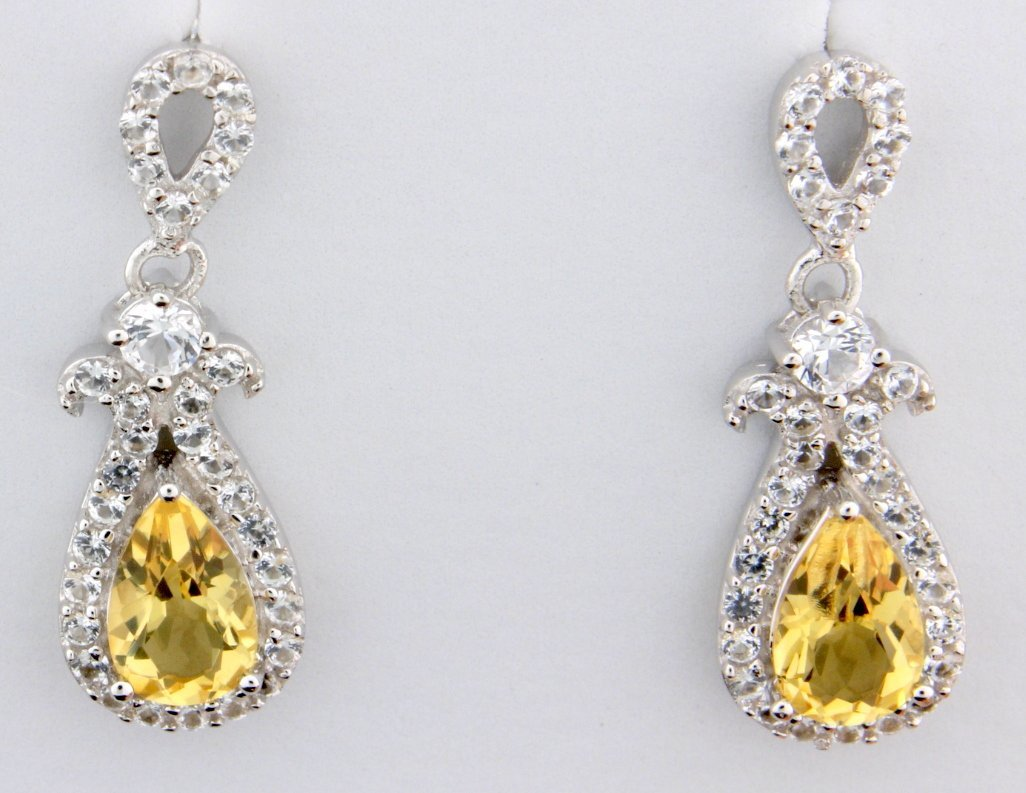 Citrine and white sapphire earrings