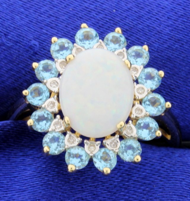 Opal and Blue Topaz Ring