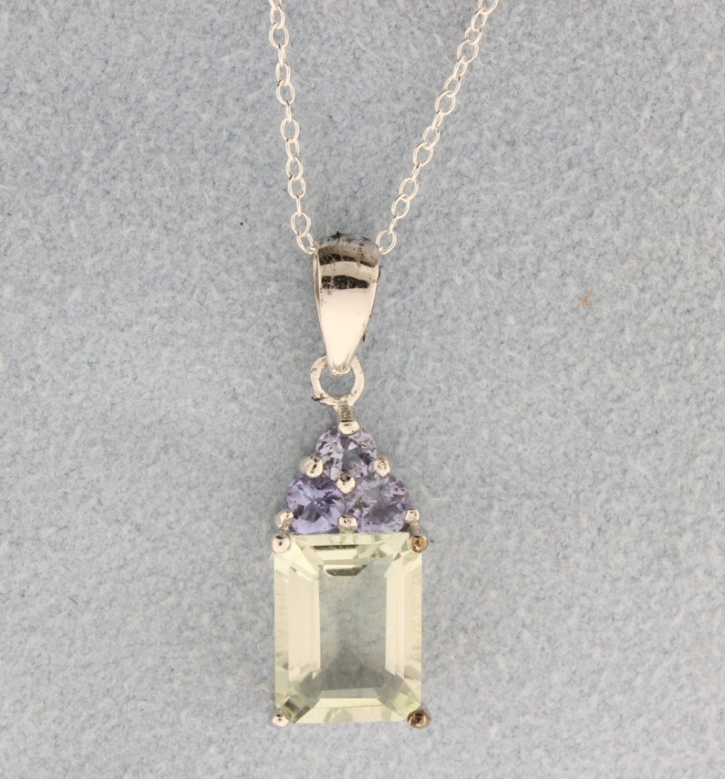 Tanzanite and Green Amethyst pendant