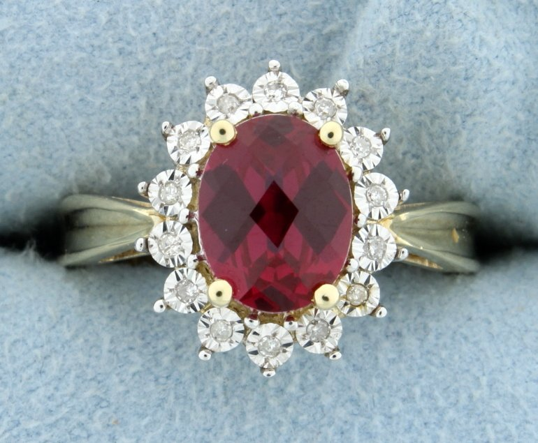 Lab ruby and diamond ring