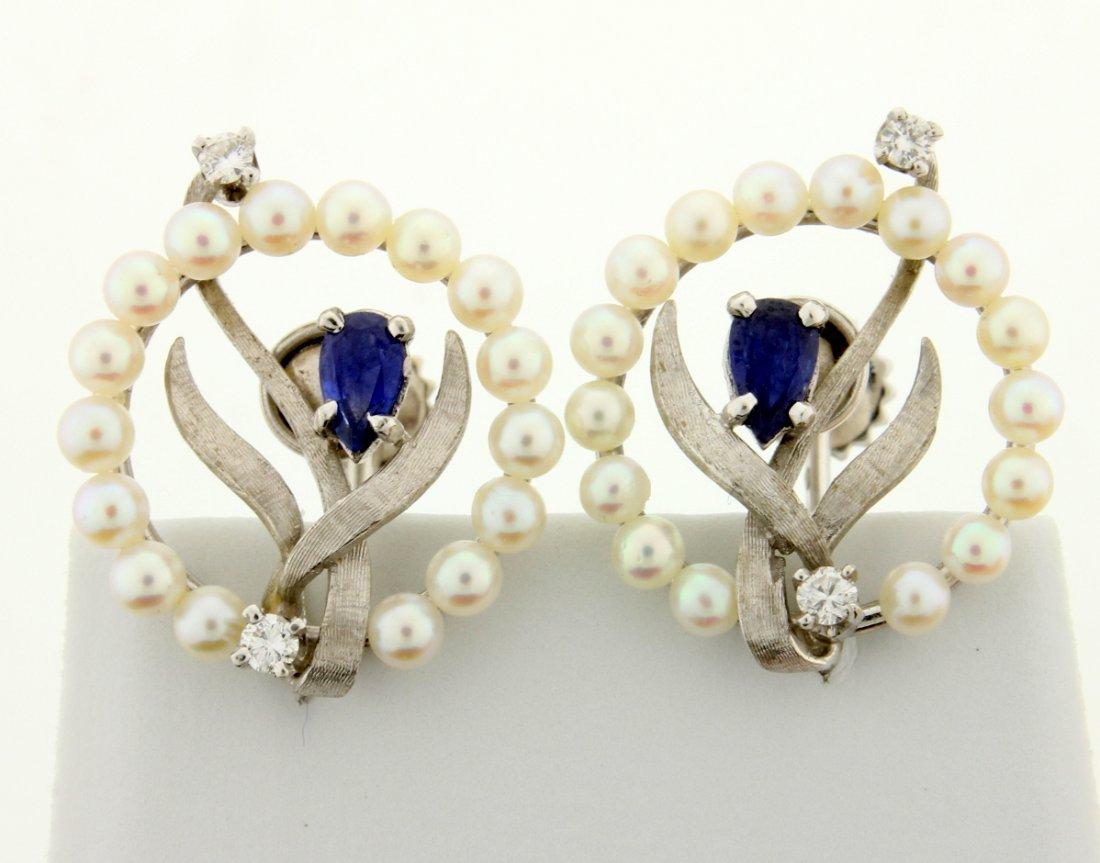 Vintage Seed Pearl, Sapphire & Diamond Earrings