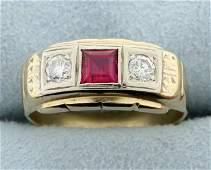 Vintage Diamond  Ruby ring