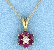 Ruby  Diamond pendant with chain