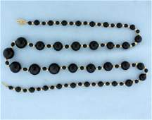 Onyx & Gold Graduated Necklace
