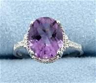 Amethyst  Diamond Sterling silver ring