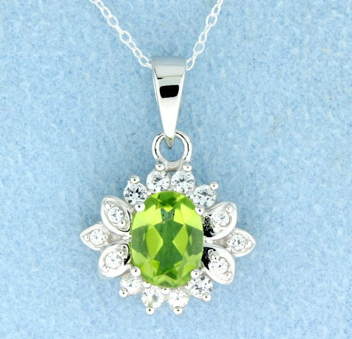 Peridot Sterling silver pendant with sterling silver