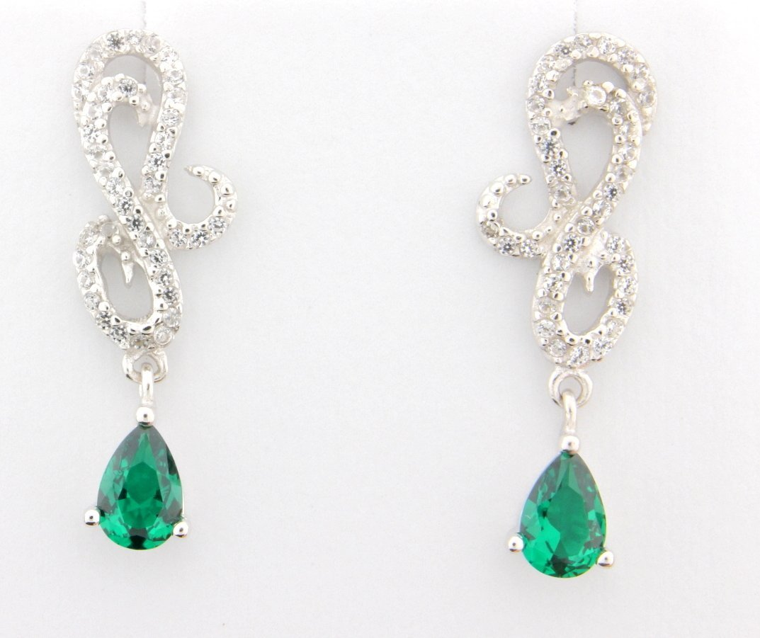 Dangle scroll earrings with lab Emeralds