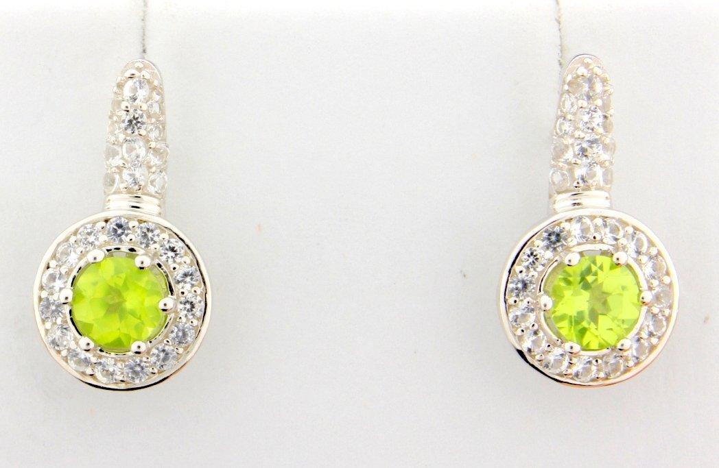 Peridot dangle style earrings