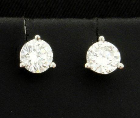 Platinum Diamond Martini Style Stud Earrings over 3/4