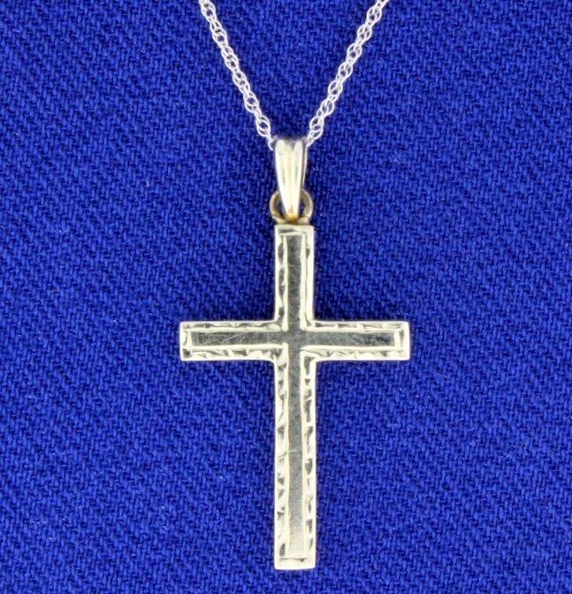 14k White Gold Cross