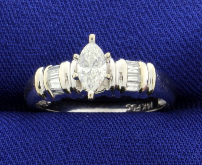 Diamond 1/2 Carat 14k White Gold Engagement Style Ring
