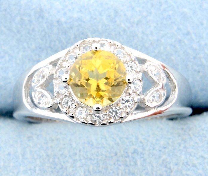 Citrine and white sapphire ring