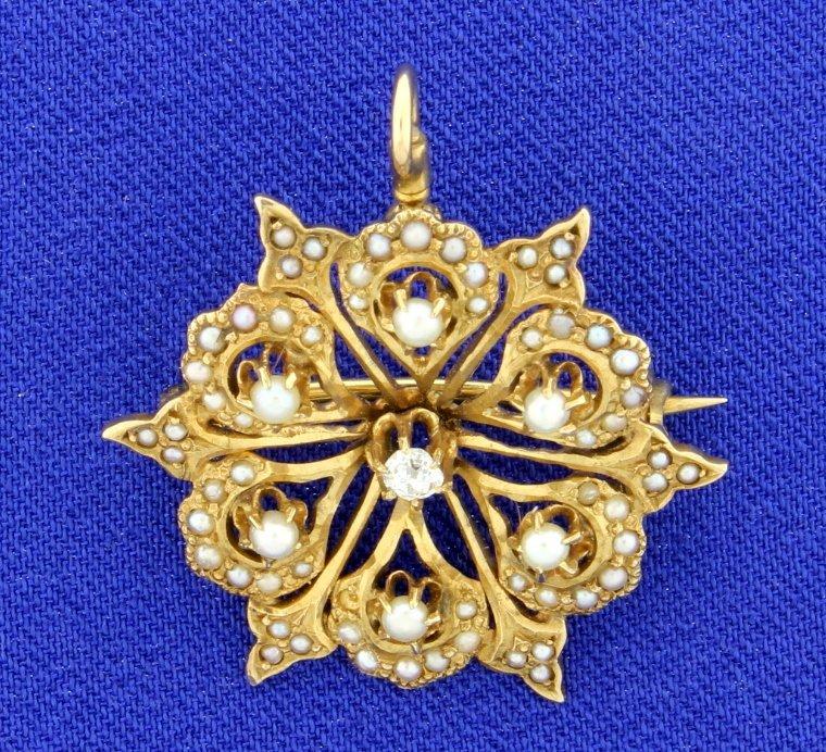 Antique Diamond & Pearl Pendant/Pin