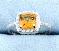 Azotic Topaz  Diamond Sterling silver ring