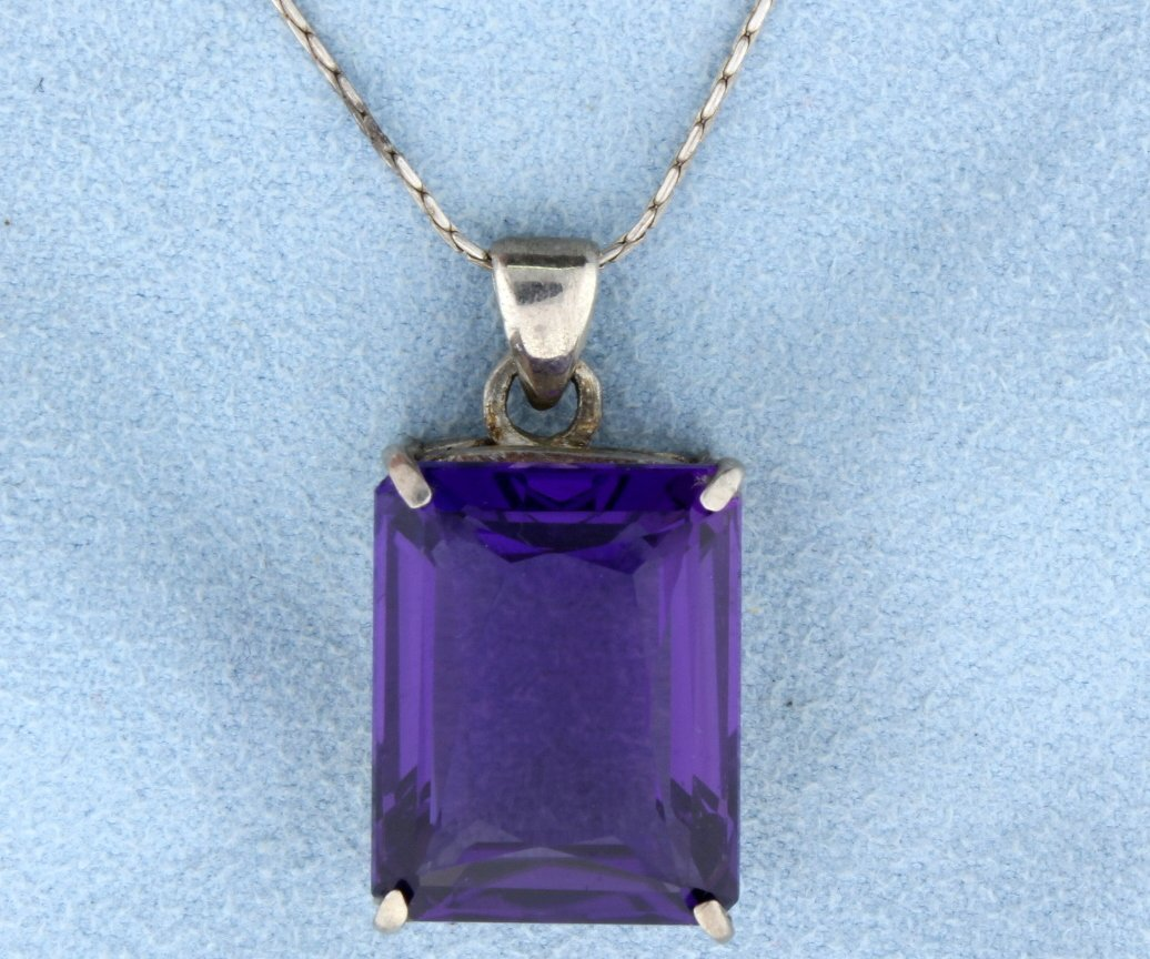 Huge Amethyst pendant with chain