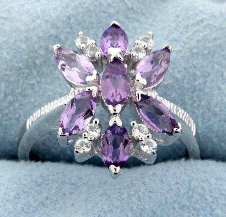 Cluster of genuine Amethyst gemstones set in sterling
