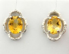 Citrine & Diamond Sterling Silver Earrings