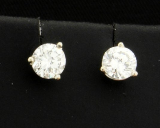 PLATINUM .80 Carat TW Diamond Stud Earrings!