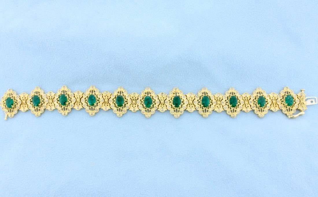 Fabulous Victorian Design Emerald and Diamond Bracelet