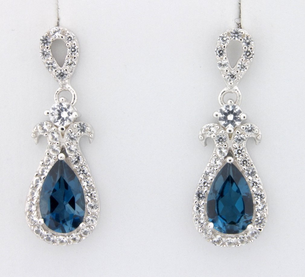 London Blue and white sapphire earrings