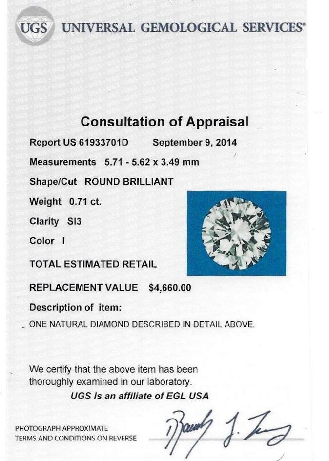 EGL Certified Round Brilliant Cut Diamond
