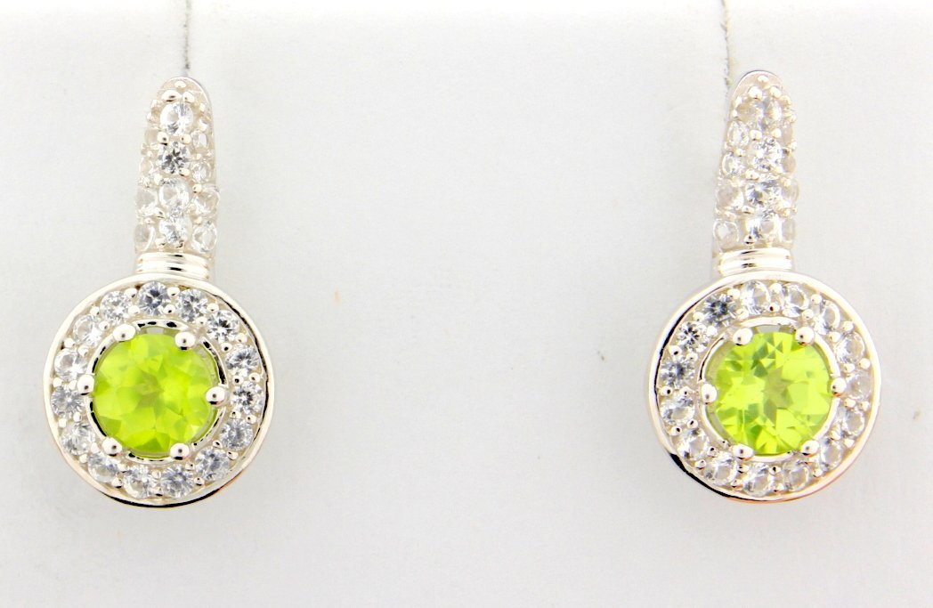 Peridot dangle style earrings