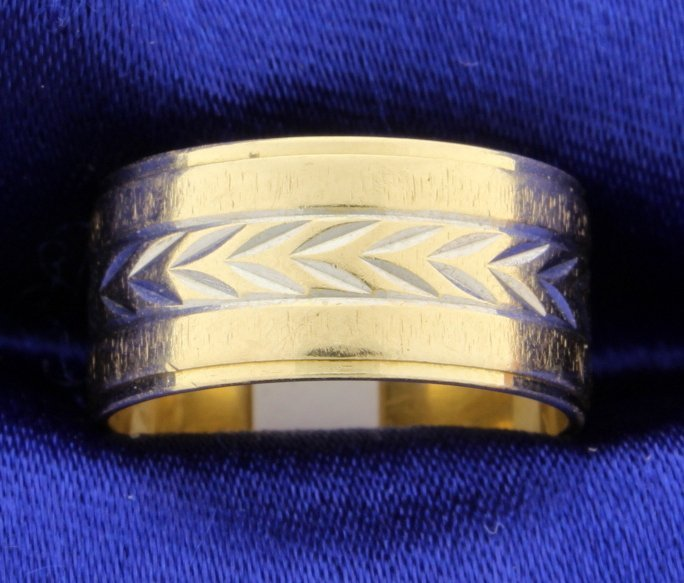 14k tutone gold band