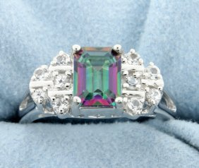 Genuine Mystic Topaz And White Sapphire Ring