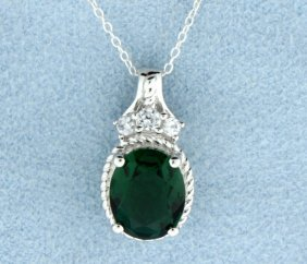 Sterling Silver Pendant With Lab Emerald