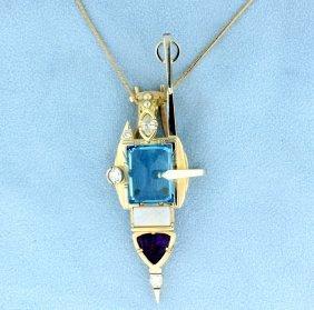 Custom Diamond & Assorted Gemstones In A Deco Design