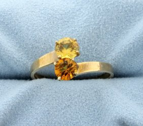 Vintage Citrine And Yellow Topaz Bypass 10k Yellow Gold