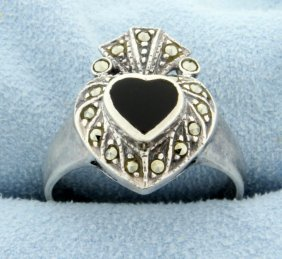 6 Piece Sterling Silver Marcasite Set: 2 Rings, 2 Pins,