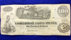 Civil War Confederate One Hundred Dollar Bill